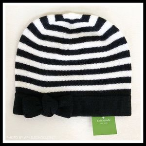 b8767db4feb5c kate spade Accessories - KATE SPADE SIGNATURE BLACK WHITE STRIPE BOW BEANIE